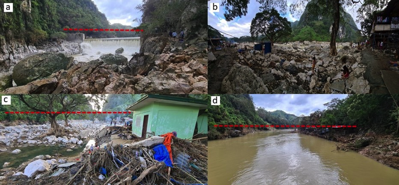 Figure. Photos showing the state of the Wawa Dam area two days after the height of Typhoon Ulysses in November 2020. Red broken line shows the flood height. a- Approximately 5-meter-high flood height measured from water level at the dam crest; b- Boulders of limestone in the downstream portion of the Wawa Dam. The channel has assumed a braided pattern, with the channel bed already almost of the same level as the adjoining communities; c- Another view of the Marikina River section located approximately 500 meters downstream of the Wawa Dam. Flood height reached 15 meters during the peak of Typhoon Ulysses; d- View of the affected area upstream of the Wawa Dam. Flood height was about 5 meters.